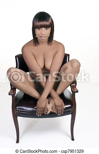 Nude women sitting on chairs