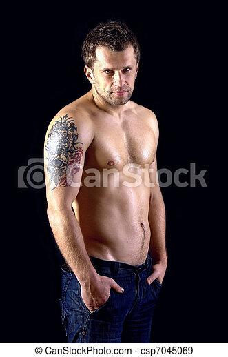 Naken manlig modell