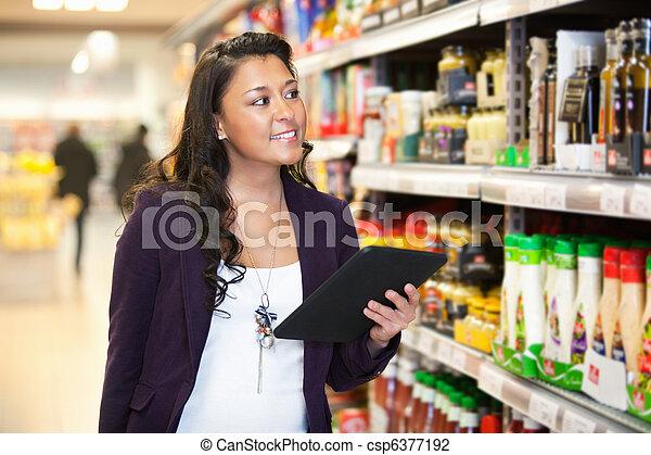 nakupování, pc, obroubit, tabulka - csp6377192