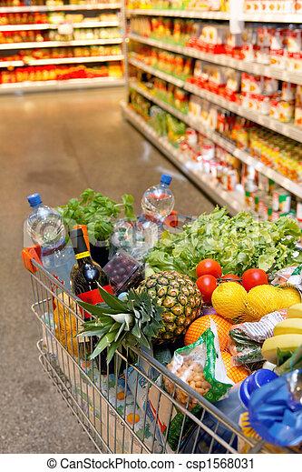 nakupování, strava, supermarket, ovoce, kára, rostlina - csp1568031