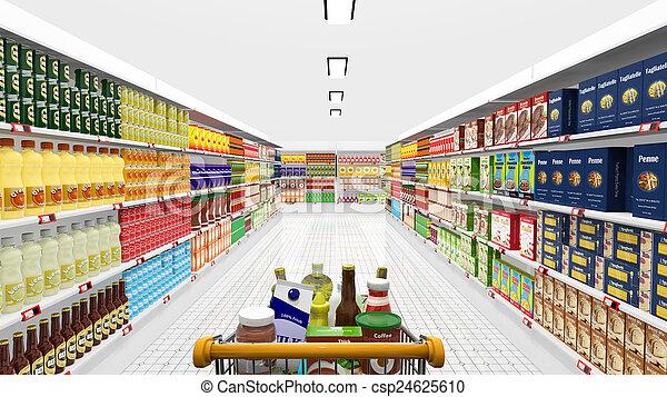nakupování, supermarket, rozmanitý, kára, vnitřní, produkt - csp24625610