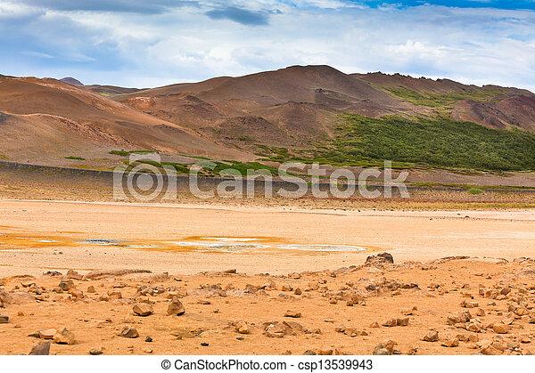 namafjall, bereich, island, geothermische felder, schwefel - csp13539943