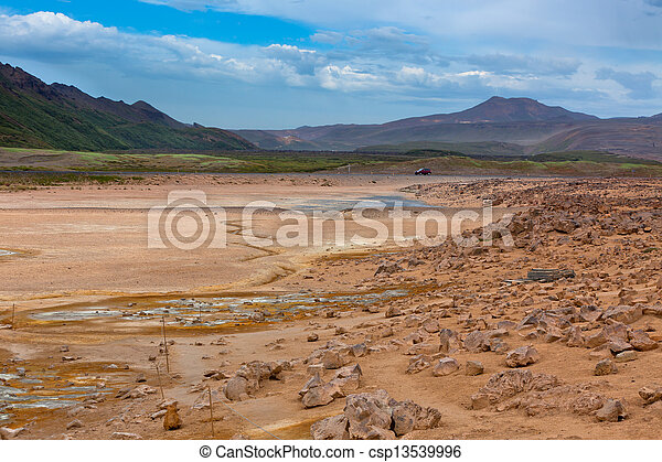 namafjall, bereich, island, geothermische felder, schwefel - csp13539996