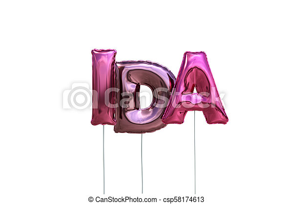 Name ida made of pink inflatable balloons isolated on ...