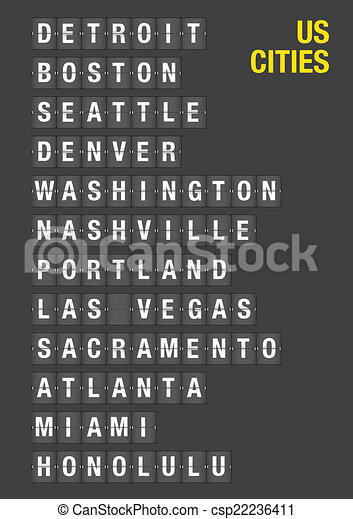 Name of US Cities on Airport Flip Board - csp22236411
