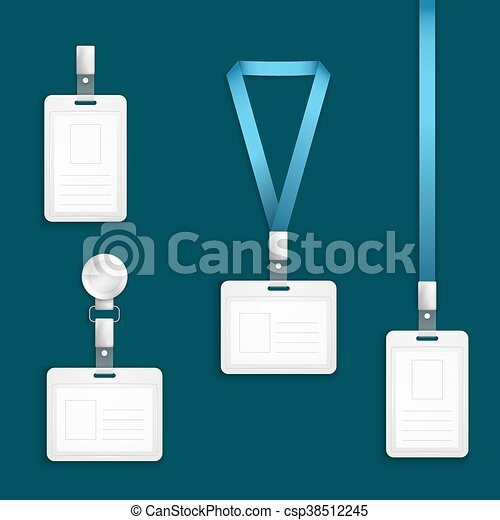 Name Tag Holder Badge With Lanyard Retractor Vector Templates
