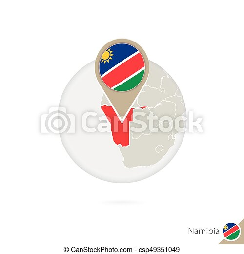 Namibia map and flag in circle  Map of Namibia, Namibia flag pin  Map of  Namibia in the style of the globe