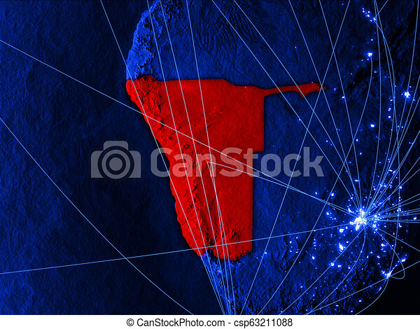 Namibia on blue blue digital map - csp63211088