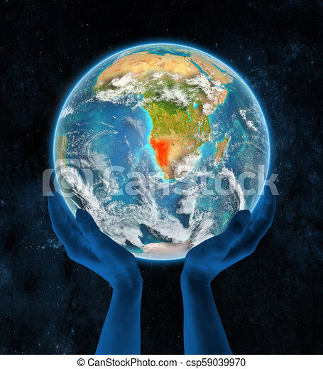 Namibia on planet Earth in hands - csp59039970