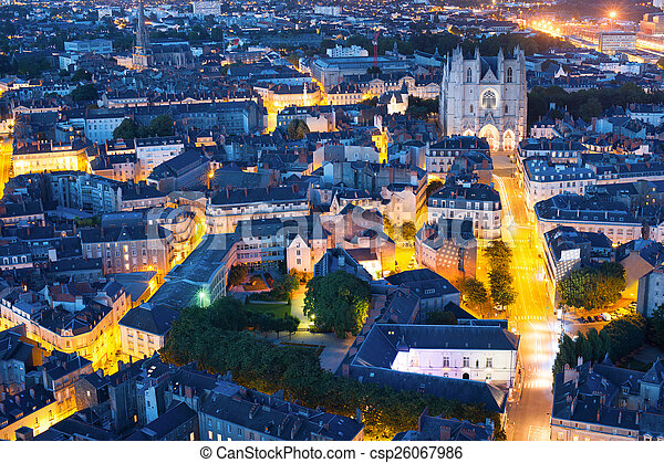 Nantes city at a summer night - csp26067986