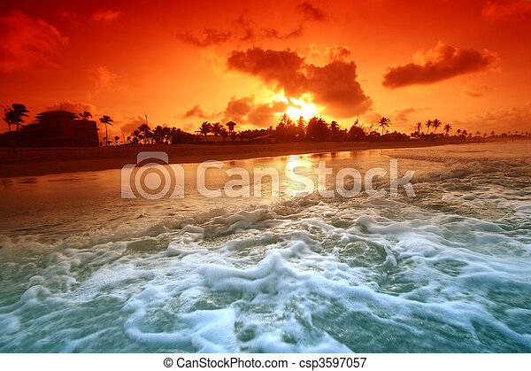 napkelte, óceán - csp3597057