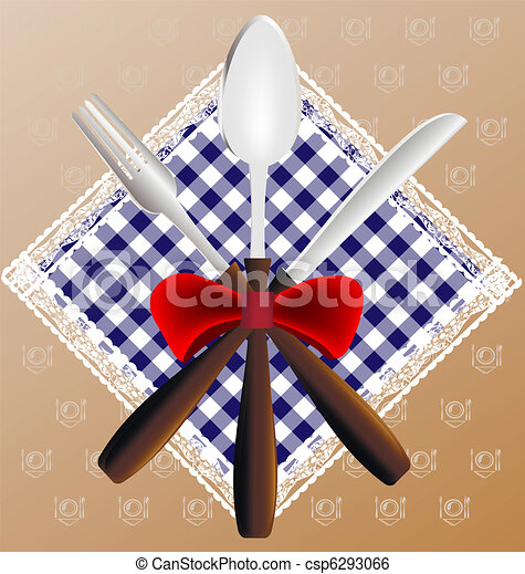napkin, spoon, knife and fork - csp6293066