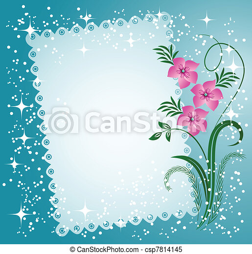 Napkin with lacy edges with flowers - csp7814145