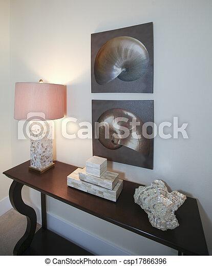 nappali, barna, sötét, erdő, decor. - csp17866396