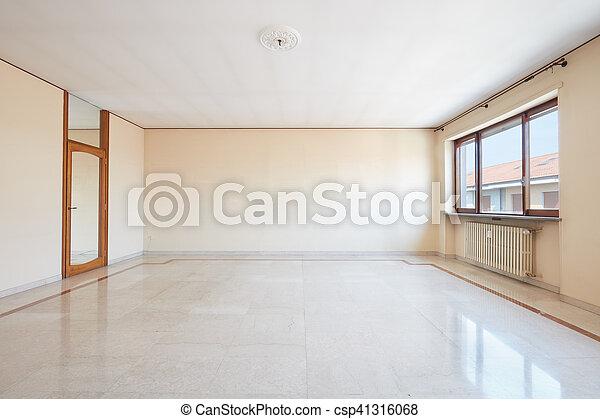 nappali, emelet, nagy, belső, márvány, üres - csp41316068