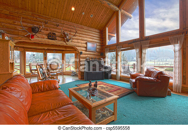 nappali, nagy, falusias, fülke, fahasáb - csp5595558