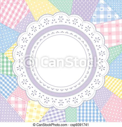 napperon, patchwork, cadre, dentelle, édredon - csp9391741