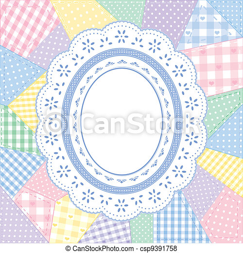 napperon, patchwork, cadre, dentelle, édredon - csp9391758