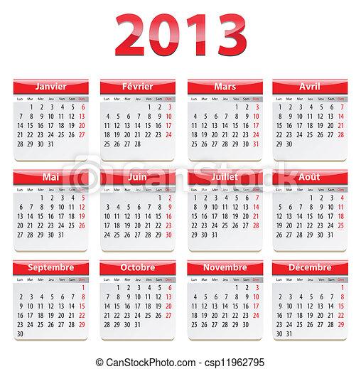 2o13 naptár Naptár, francia, 2012. Ábra, french., vektor, év, naptár, 2013. 2o13 naptár