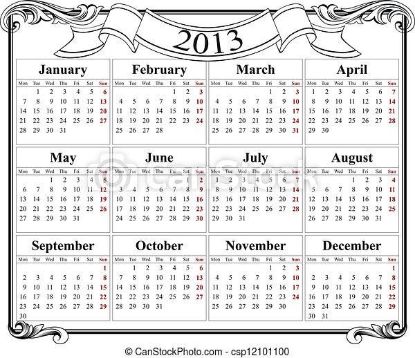 2o13 naptár Naptár, rács, retro, 2013. Naptár, retro, 2013, sablon. 2o13 naptár