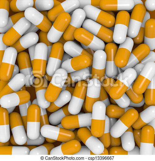Cápsulas blancas y naranjas - csp13396667