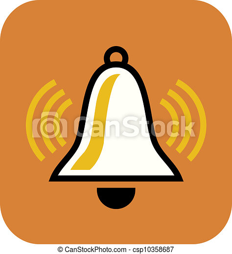 Un dibujo de una campana blanca de fondo naranja - csp10358687