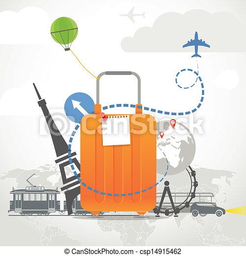 Composición de vacaciones con bolsa naranja - csp14915462