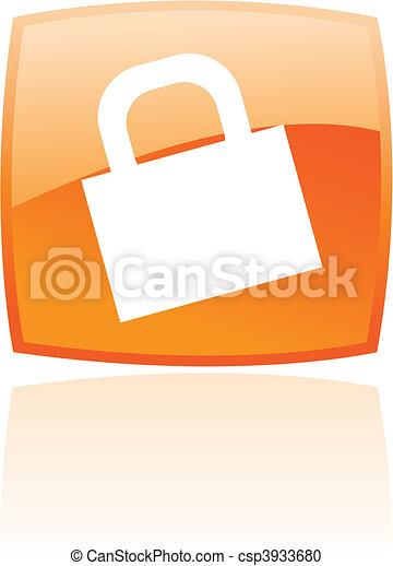 Un candado de naranja brillante - csp3933680