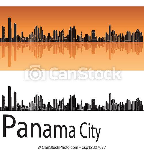 naranja, ciudad, panamá, contorno, plano de fondo - csp12827677