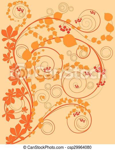 Trasfondo floral naranja - csp29964080