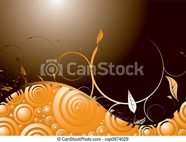 Un remolino floral de naranja - csp0974029