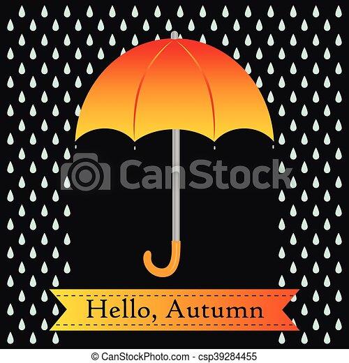 Un paraguas naranja con gotas de lluvia - csp39284455