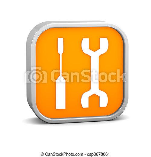 Una señal de herramientas naranja - csp3678061