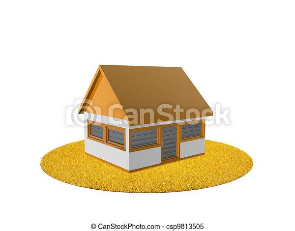 A casa en la hierba naranja - csp9813505