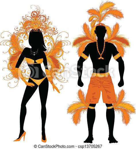 Pareja naranja de silueta de carnaval - csp13705267