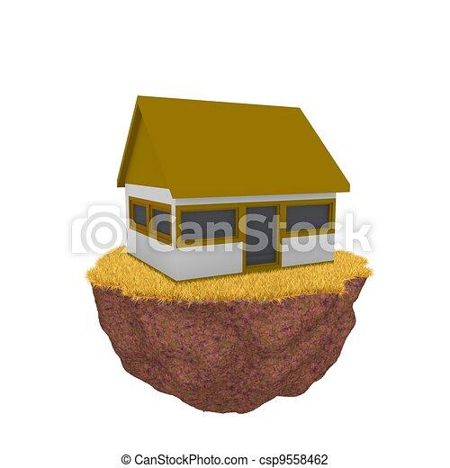 A casa en la hierba naranja - csp9558462
