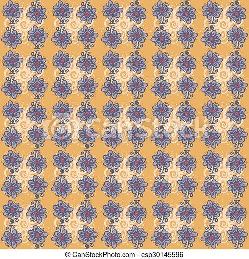 Patrón sin costura con flores en el fondo naranja - csp30145596