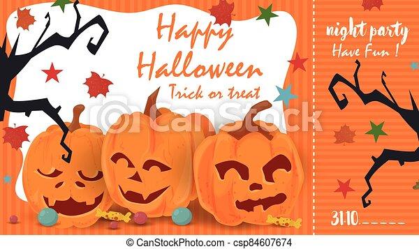 naranja, santos, boleto, calabazas, tres, eva, feriado, ilustración, siluetas, halloween, todos, día, vector, boquete, fiesta, entrada - csp84607674