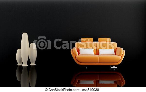 Sofa naranja en cuarto oscuro - csp5490381