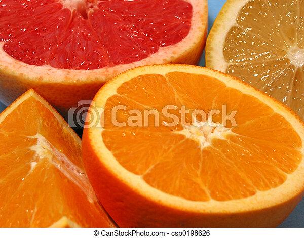 Naranja, limón y pomelo - csp0198626