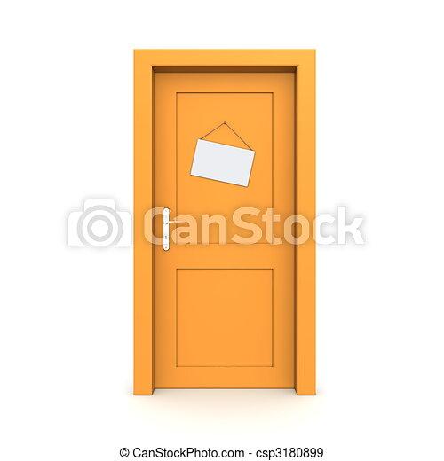 Puerta naranja cerrada con señal de puerta falsa - csp3180899