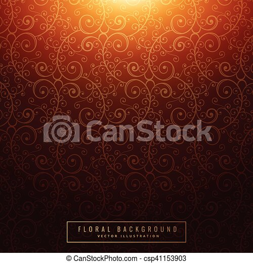 Un antiguo fondo floral naranja - csp41153903