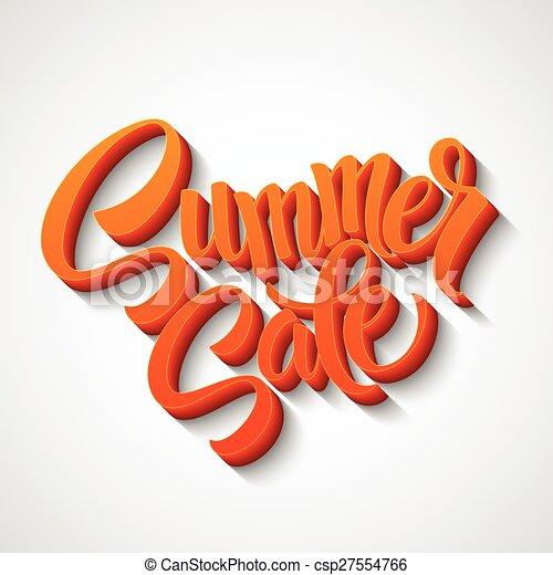 Mensaje de la venta de verano en el fondo naranja - csp27554766