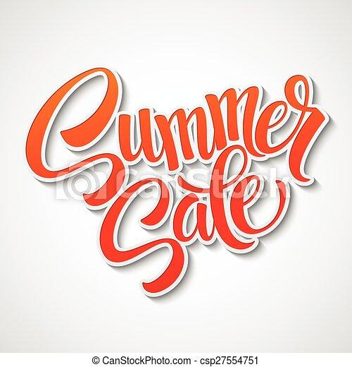 Mensaje de la venta de verano en el fondo naranja - csp27554751
