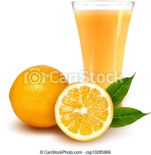 Naranja fresca y vidrio con jugo - csp10285966