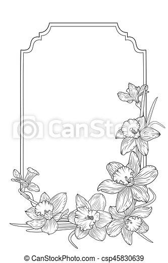 narcissus daffodils spring floral border frame spring floral border