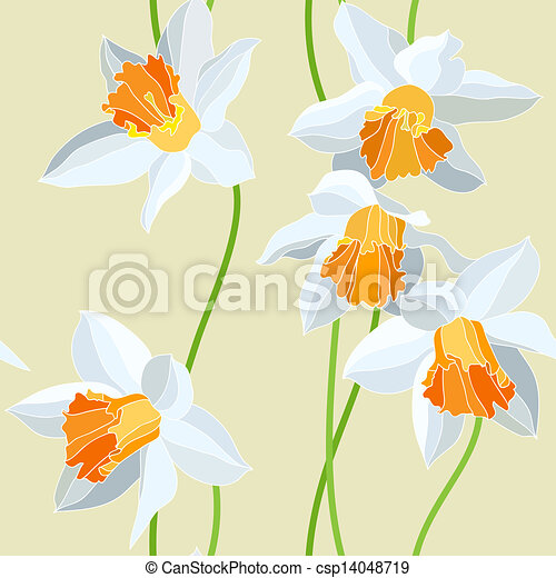 Narcissus seamless vector pattern - csp14048719