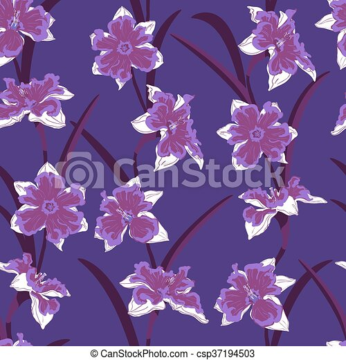 narcissus seamless vector pattern - csp37194503