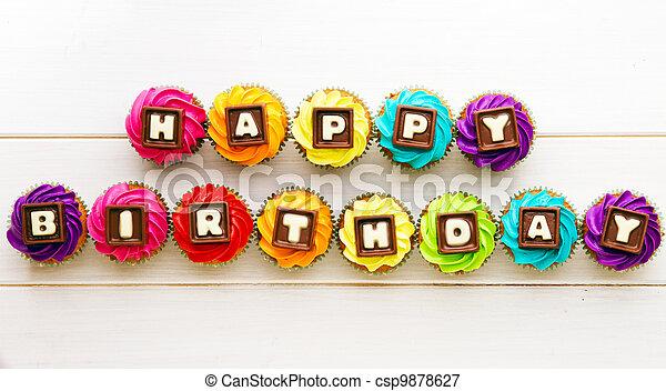 narozeniny, cupcakes, šťastný - csp9878627