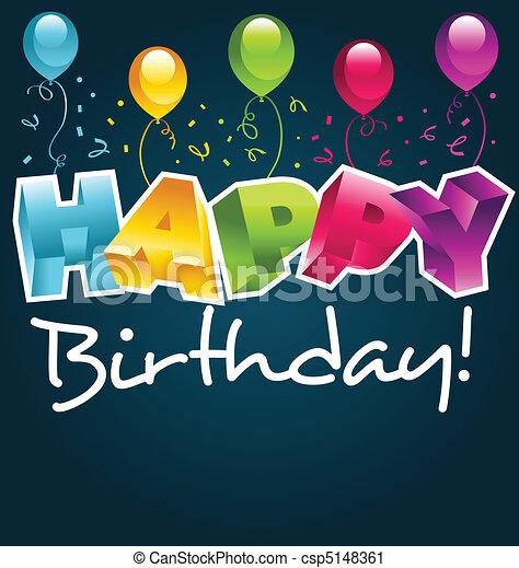 narozeniny karta, šťastný - csp5148361
